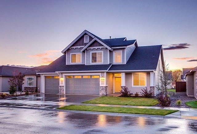 Home exterior with garage doors